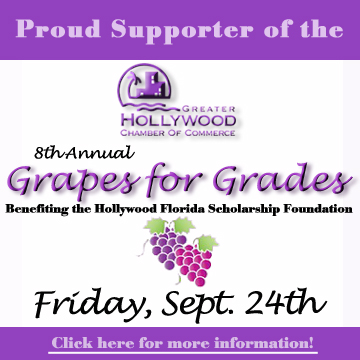 Sponsor for the 8th Annual Grapes for Grades, Benefiting the Hollywood Florida Scholarship Foundation